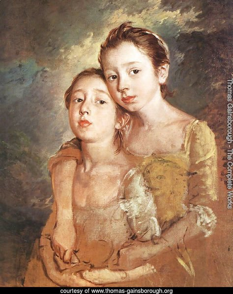 Artist's daughters with a cat
