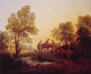 Evening Landscape - Peasants and Mounted Figures