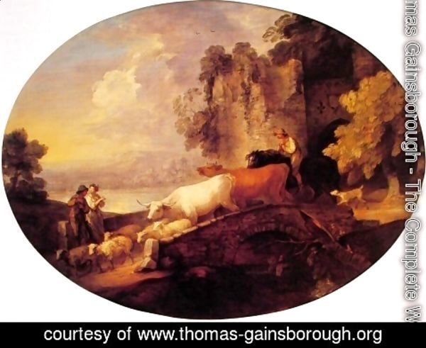 Thomas Gainsborough - River Landscape with Rustic Lovers