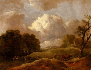 Thomas Gainsborough - An Extensive Landscape With Cattle And A Drover