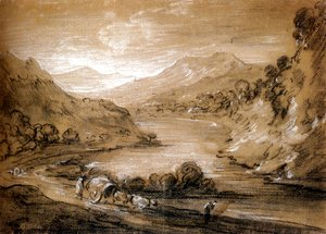 Thomas Gainsborough - Mountainous Landscape With Cart And Figures