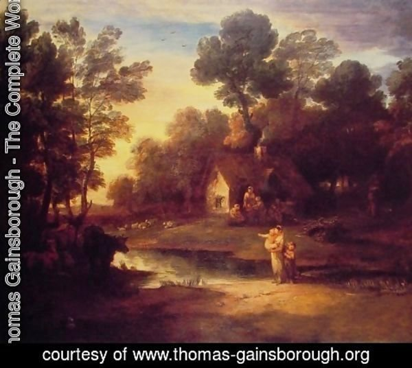 Thomas Gainsborough - Wooded Landscape with Cattle by a Pool and a Cottage at Evening