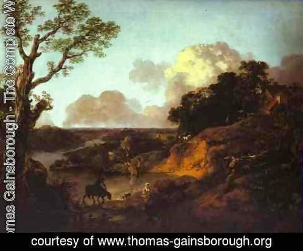 Thomas Gainsborough - River Landscape with Rustic Lovers 2