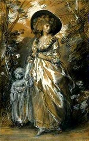 Thomas Gainsborough - A Lady Walking in a Garden with a Child