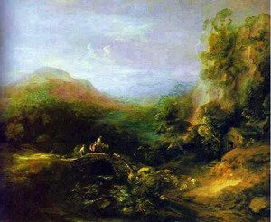 Thomas Gainsborough - Mountain Landscape with Bridge
