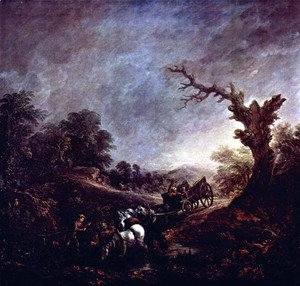 Thomas Gainsborough - Sunset, Carthorses Drinking at a Stream