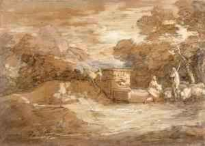 Thomas Gainsborough - Mountain Landscape with Figures Sheep and Fountain