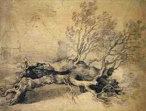 Thomas Gainsborough - A Fallen Tree with Farm Buildings Beyond