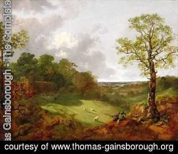 Wooded Landscape with a Cottage Sheep and a Reclining Shepherd