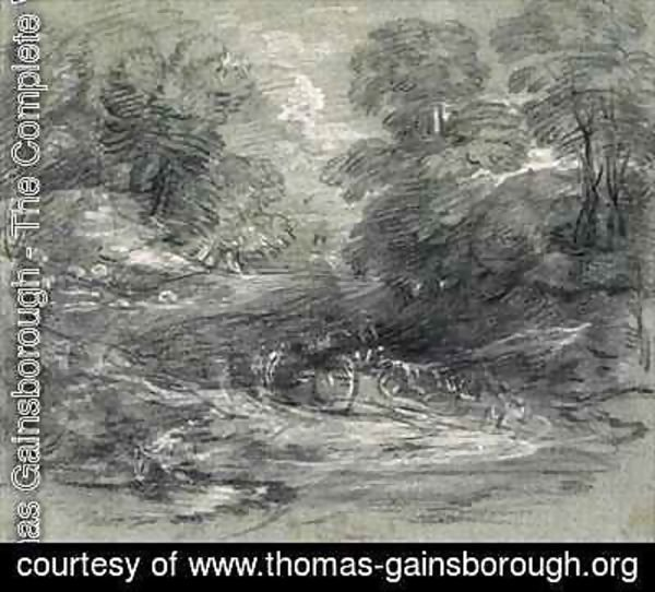 Thomas Gainsborough - Landscape with Farm Cart on a Winding Track between Trees