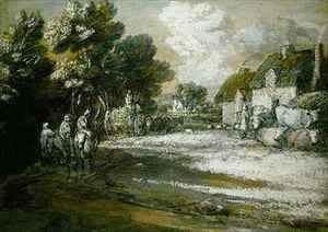 Travellers Passing a Village