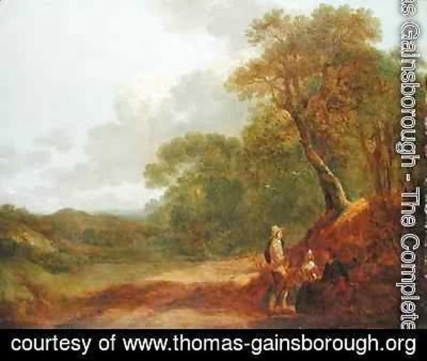 Thomas Gainsborough - Wooded Landscape with a Man Talking to Two Seated Women
