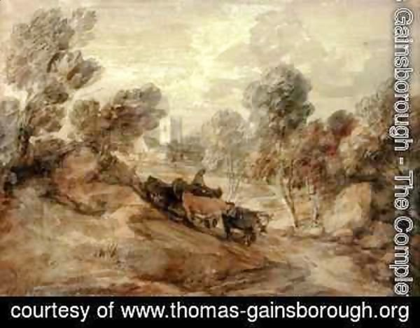 Thomas Gainsborough - A Herdsman with Cattle on the Outskirts of a Village