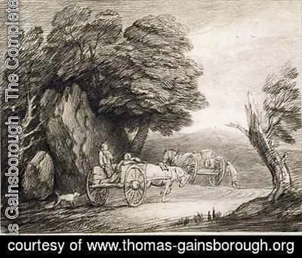 Thomas Gainsborough - Wooded Landscape with Carts and Figures