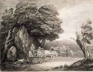 Wooded Landscape with Carts and Figures