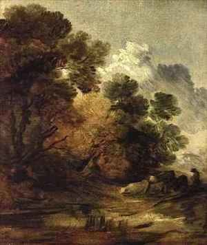 Thomas Gainsborough - Herdsman driving cattle towards a pool