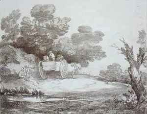 Thomas Gainsborough - Wooded Landscape Country Cart and Figures