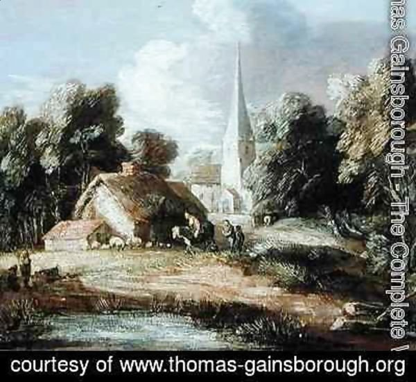 Landscape with a Church Cottage Villagers and Animals