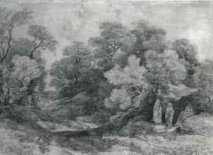 Landscape with figures gathering wood