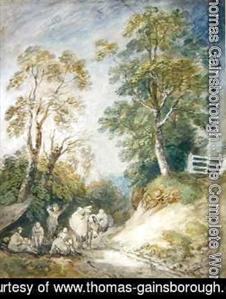 Thomas Gainsborough - Wooded Landscape with Gypsy Encampment