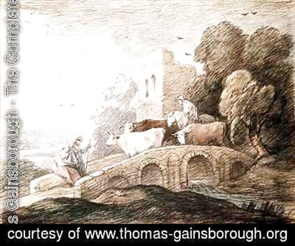 Thomas Gainsborough - A bridge with cattle passing over