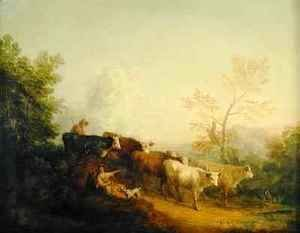 Thomas Gainsborough - Herdsmen Driving Cattle towards a Post
