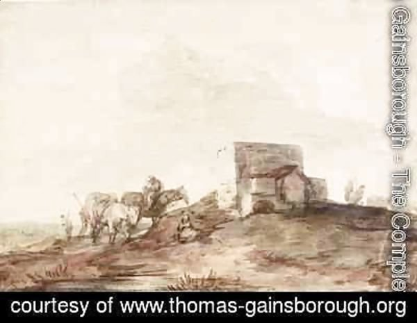 Thomas Gainsborough - Open Landscape with a Building and Horses and Riders Resting by a Pool