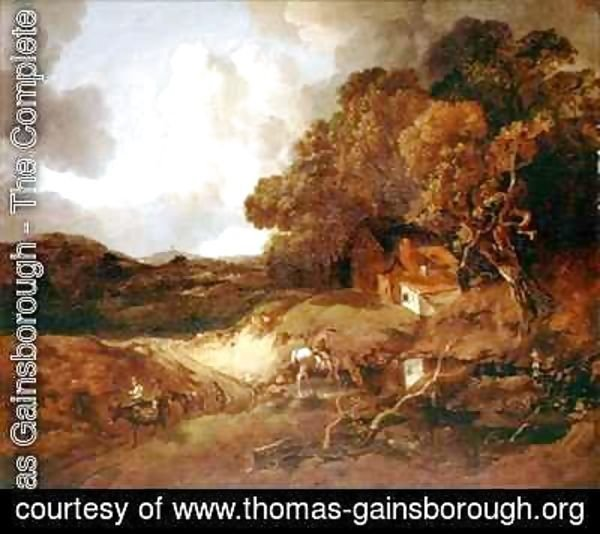 Thomas Gainsborough - Extensive wooded landscape with peasants on a path