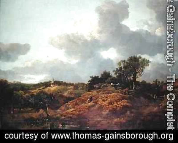 Thomas Gainsborough - A wooded landscape in Suffolk with cows and a herdsman a village beyond