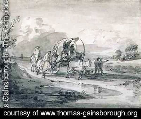 Thomas Gainsborough - Open Landscape with Herdsman and Covered Cart