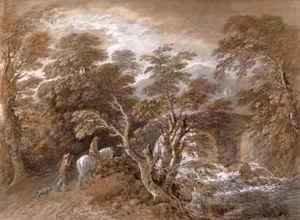 Thomas Gainsborough - A Woodland Pool with Rocks and Plants
