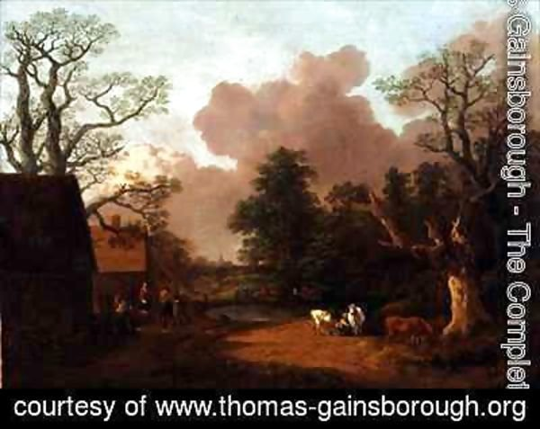 Thomas Gainsborough - A Landscape with Figures Farm Buildings and a Milkmaid