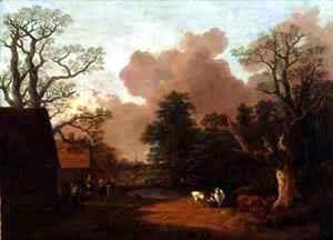 A Landscape with Figures Farm Buildings and a Milkmaid