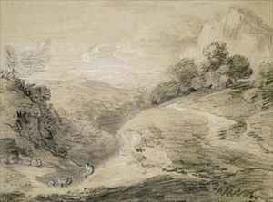 A Hilly Landscape with Shepherd and Sheep