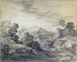 Thomas Gainsborough - Wooded Landscape with Castle