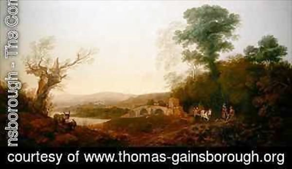 Thomas Gainsborough - A River Landscape with Travellers Resting on the Edge of a Wood
