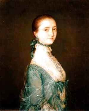 Elizabeth wife of Richard Colville in a blue dress