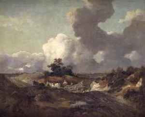 Thomas Gainsborough - An open landscape in Suffolk with a waggon on a track