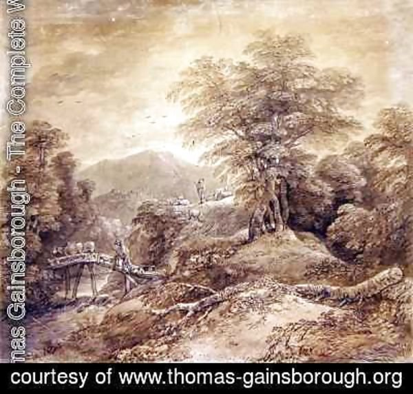 Thomas Gainsborough - Wooded Mountain Landscape Herdsman and Cows Crossing