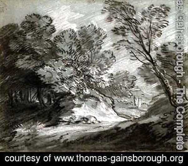 Thomas Gainsborough - Wooded landscape with a distant mountain