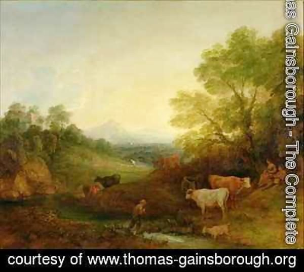 Thomas Gainsborough - A Landscape with Cattle and Figures by a Stream and a Distant Bridge