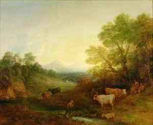 A Landscape with Cattle and Figures by a Stream and a Distant Bridge