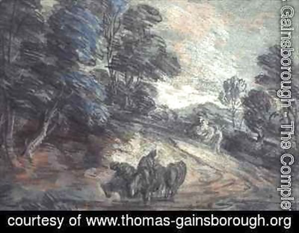 Thomas Gainsborough - A Wooded Landscape with Horses Drinking