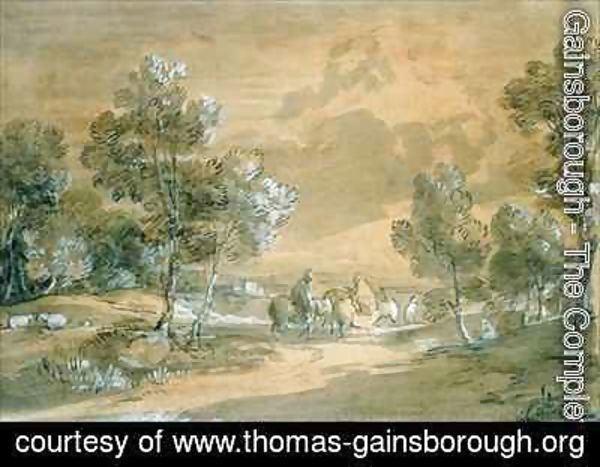 Thomas Gainsborough - An Open Landscape with Travellers on a Road