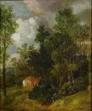 Thomas Gainsborough - Wooded Landscape with Country House and Two Figures