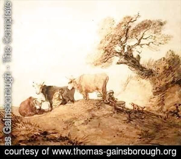 Cattle with Drovers and a Dog under a Tree