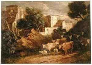 Thomas Gainsborough - Mounted Drover Driving Home a Herd of Cattle