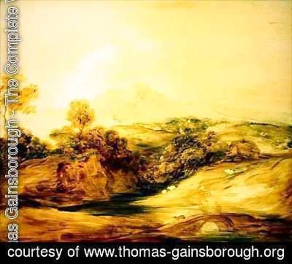 Thomas Gainsborough - Wooded River landscape with figures on a bridge