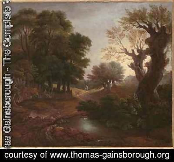 Wooded Landscape with Drover and Cattle and Milkmaids