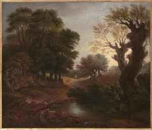 Thomas Gainsborough - Wooded Landscape with Drover and Cattle and Milkmaids